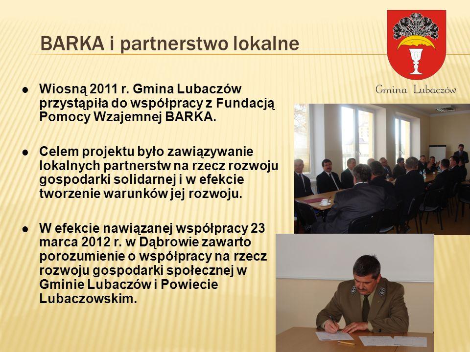 BARKA i partnerstwo lokalne Wiosną 2011 r. Gmina Lubaczów przystąpiła do współpracy z Fundacją Pomocy Wzajemnej BARKA. Celem projektu było zawiązywani