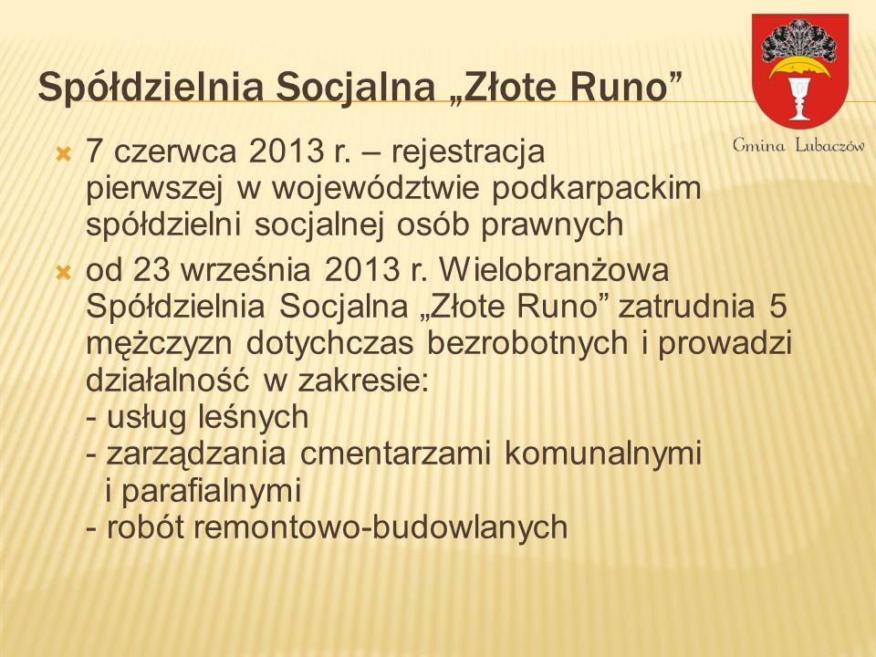 Spółdzielnia Socjalna Złote Runo 7 czerwca 2013 r. – rejestracja pierwszej w województwie podkarpackim spółdzielni socjalnej osób prawnych od 23 wrześ