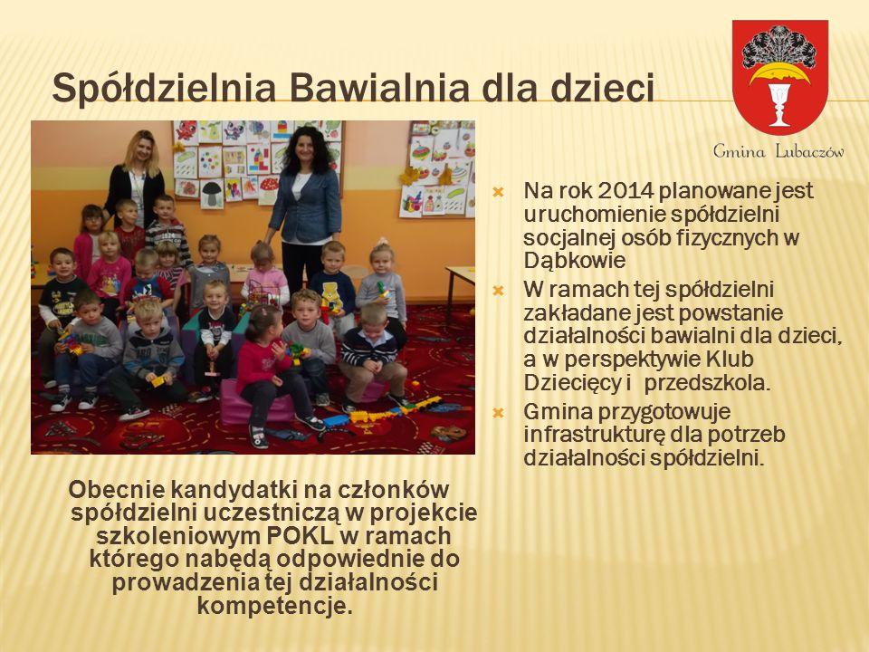 Spółdzielnia Bawialnia dla dzieci Na rok 2014 planowane jest uruchomienie spółdzielni socjalnej osób fizycznych w Dąbkowie W ramach tej spółdzielni zakładane jest powstanie działalności bawialni dla dzieci, a w perspektywie Klub Dziecięcy i przedszkola.