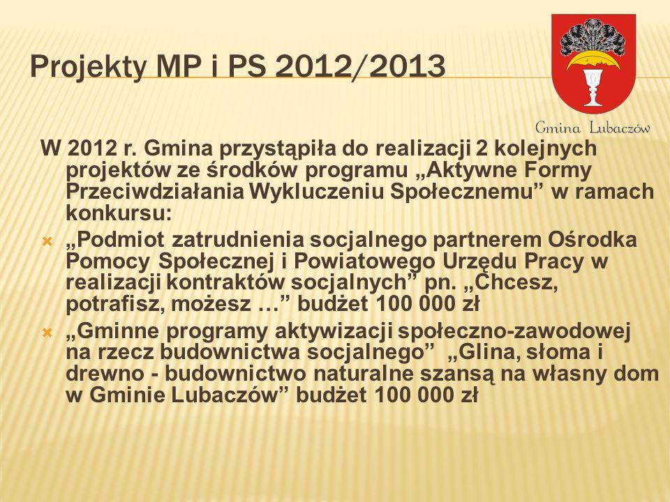 Projekty MP i PS 2012/2013 W 2012 r. Gmina przystąpiła do realizacji 2 kolejnych projektów ze środków programu Aktywne Formy Przeciwdziałania Wyklucze