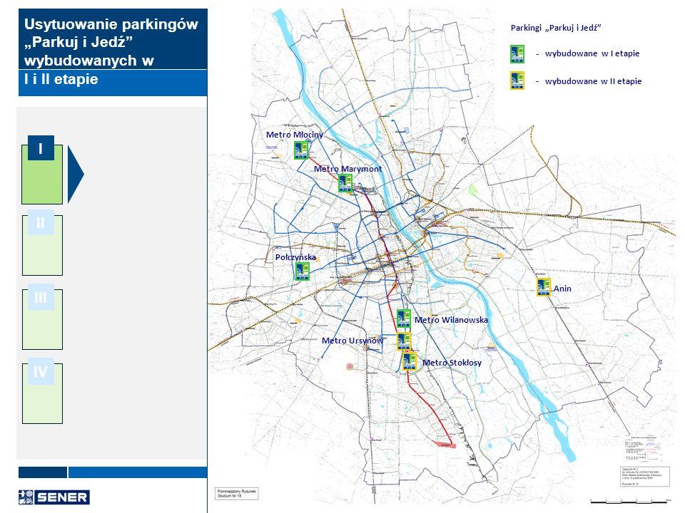 10 I II III IV Usytuowanie parkingów Parkuj i Jedź wybudowanych w I i II etapie Metro Młociny Metro Marymont Połczyńska Metro Wilanowska Metro Ursynów