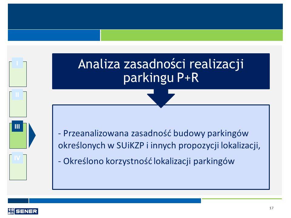 17 I II III IV - Przeanalizowana zasadność budowy parkingów określonych w SUiKZP i innych propozycji lokalizacji, - Określono korzystność lokalizacji