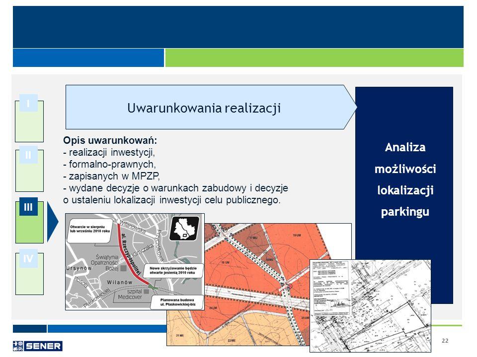 22 I II III IV Analiza możliwości lokalizacji parkingu Opis uwarunkowań: - realizacji inwestycji, - formalno-prawnych, - zapisanych w MPZP, - wydane d