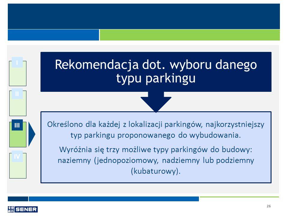 26 I II III IV Określono dla każdej z lokalizacji parkingów, najkorzystniejszy typ parkingu proponowanego do wybudowania. Wyróżnia się trzy możliwe ty