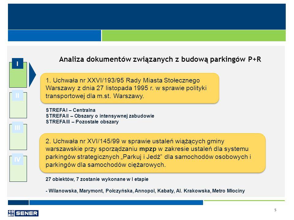 5 I II III IV Analiza dokumentów związanych z budową parkingów P+R 1. Uchwała nr XXVI/193/95 Rady Miasta Stołecznego Warszawy z dnia 27 listopada 1995