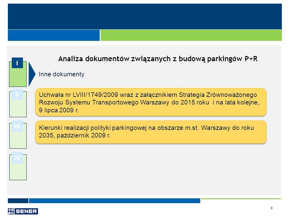 8 I II III IV Analiza dokumentów związanych z budową parkingów P+R Uchwała nr LVIII/1749/2009 wraz z załącznikiem Strategia Zrównoważonego Rozwoju Sys