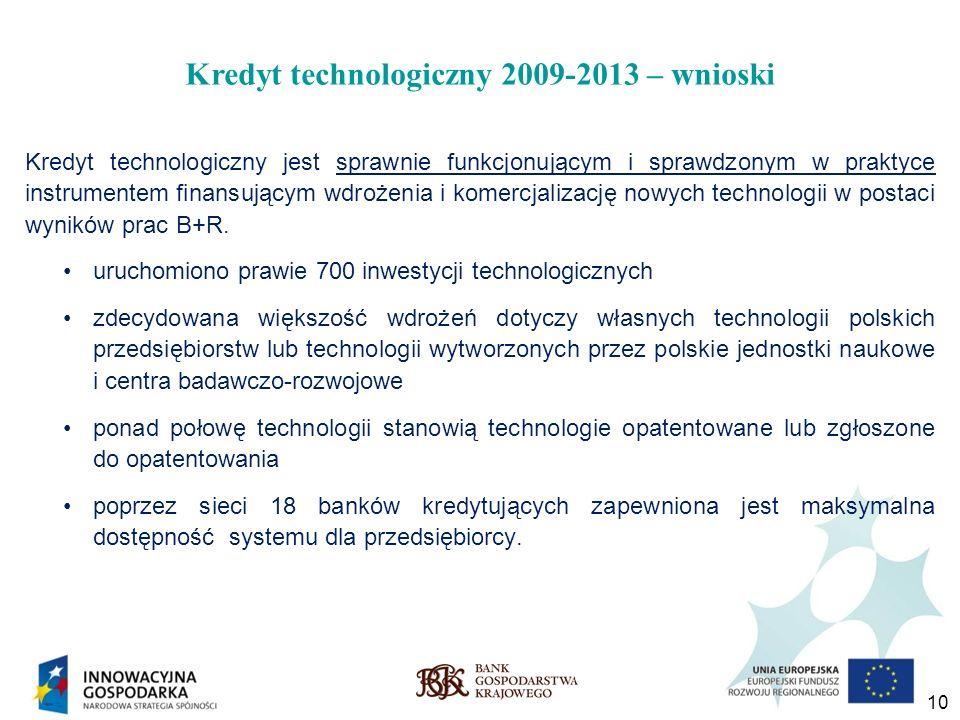 10 Kredyt technologiczny 2009-2013 – wnioski Kredyt technologiczny jest sprawnie funkcjonującym i sprawdzonym w praktyce instrumentem finansującym wdr
