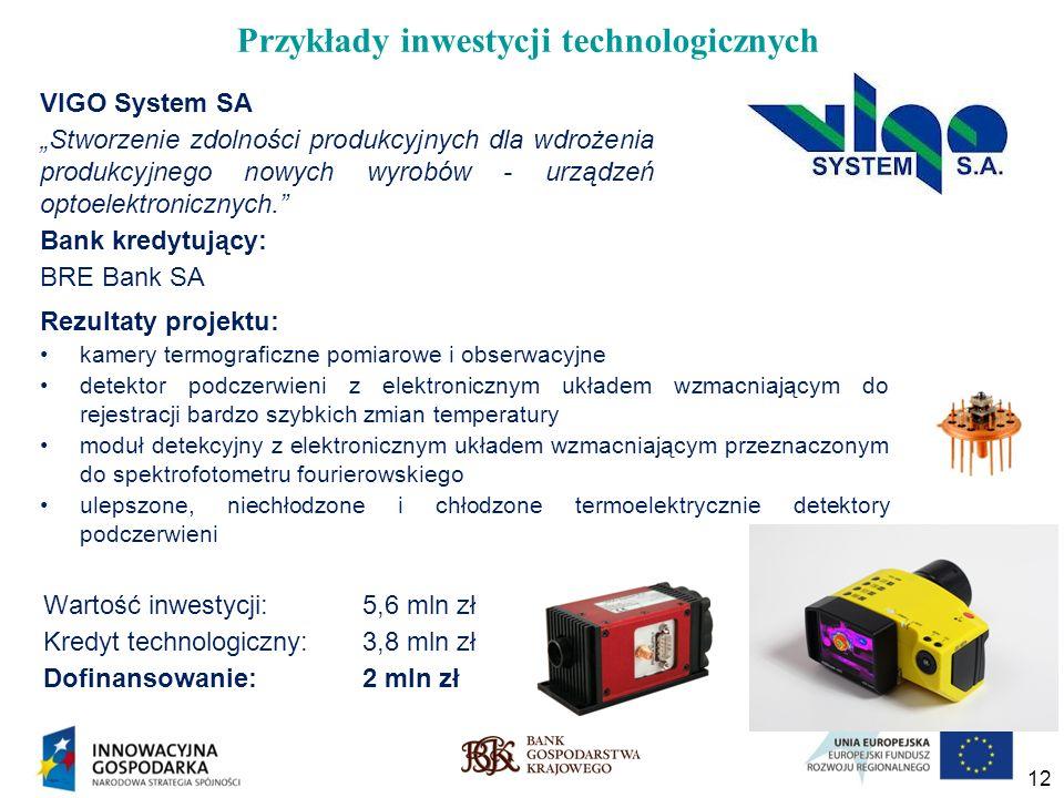 12 Przykłady inwestycji technologicznych VIGO System SA Stworzenie zdolności produkcyjnych dla wdrożenia produkcyjnego nowych wyrobów - urządzeń optoe