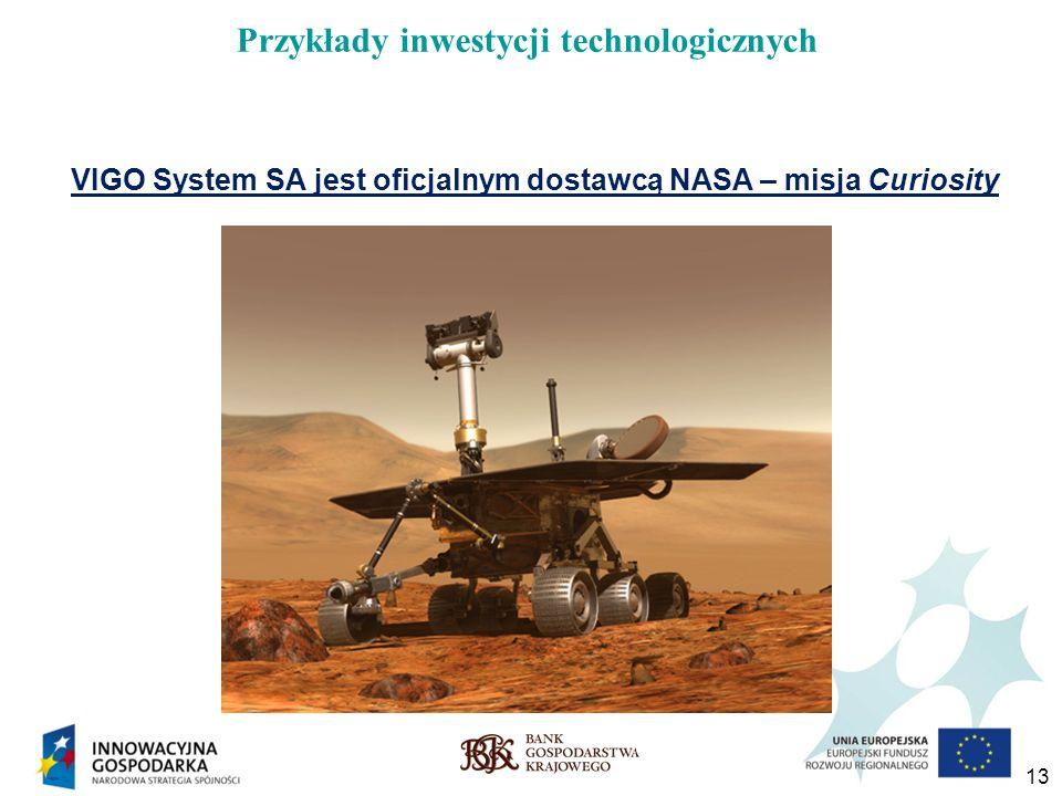 13 Przykłady inwestycji technologicznych VIGO System SA jest oficjalnym dostawcą NASA – misja Curiosity