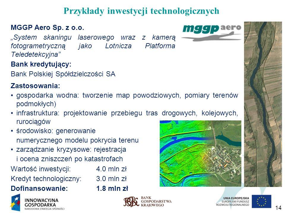 14 MGGP Aero Sp. z o.o. System skaningu laserowego wraz z kamerą fotogrametryczną jako Lotnicza Platforma Teledetekcyjna Zastosowania: gospodarka wodn