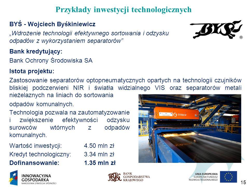 15 Przykłady inwestycji technologicznych BYŚ - Wojciech Byśkiniewicz Wdrożenie technologii efektywnego sortowania i odzysku odpadów z wykorzystaniem s