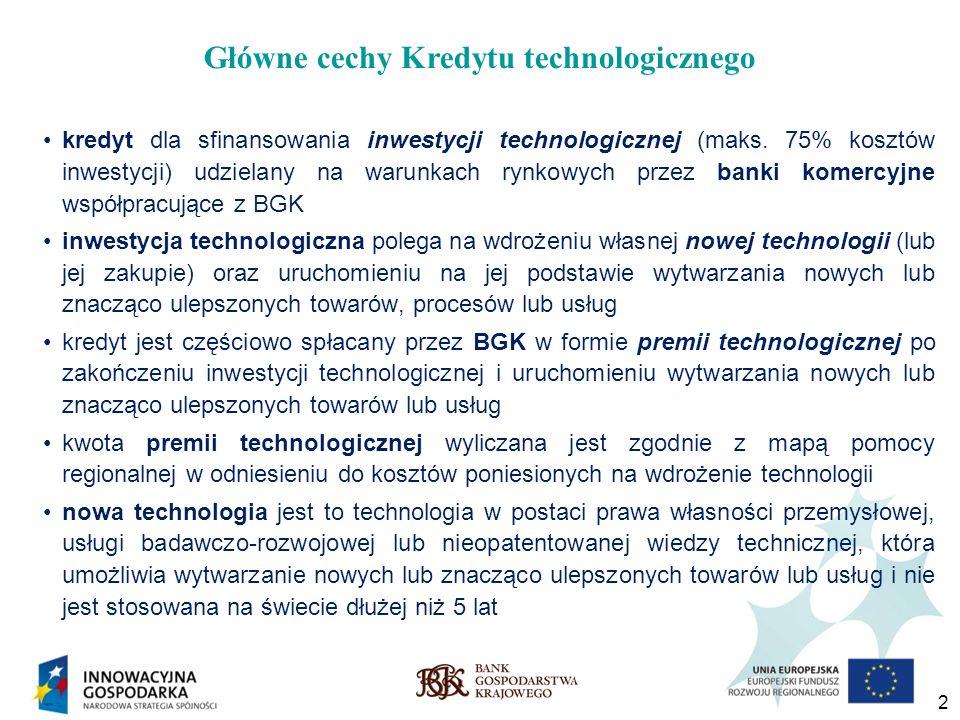 2 kredyt dla sfinansowania inwestycji technologicznej (maks. 75% kosztów inwestycji) udzielany na warunkach rynkowych przez banki komercyjne współprac