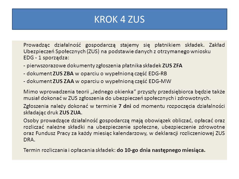 KROK 4 ZUS Prowadząc działalność gospodarczą stajemy się płatnikiem składek. Zakład Ubezpieczeń Społecznych (ZUS) na podstawie danych z otrzymanego wn