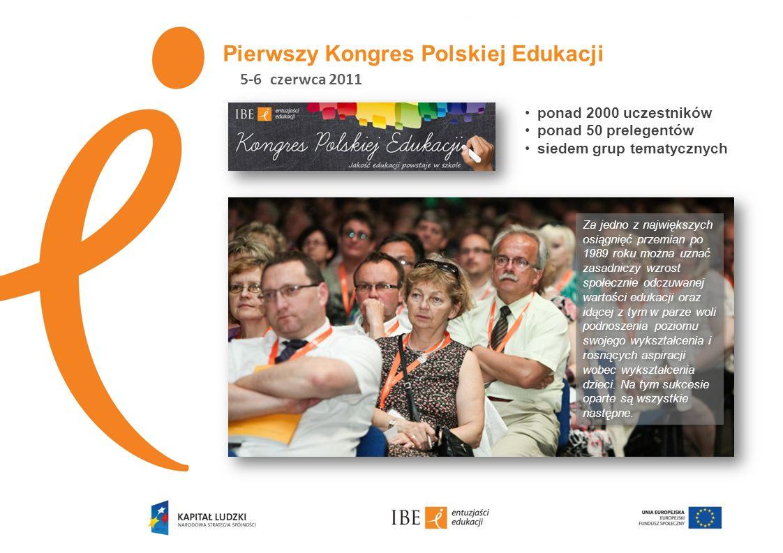 Pierwszy Kongres Polskiej Edukacji ponad 2000 uczestników ponad 50 prelegentów siedem grup tematycznych Za jedno z największych osiągnięć przemian po