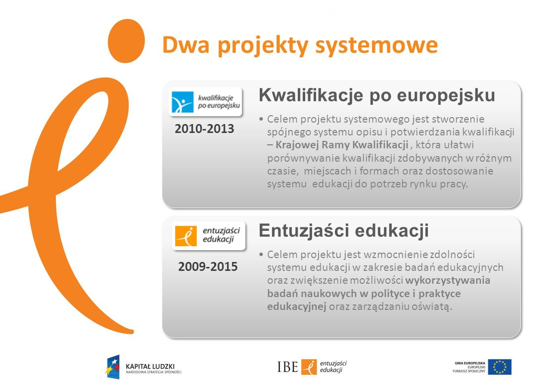 Dwa projekty systemowe Kwalifikacje po europejsku Celem projektu systemowego jest stworzenie spójnego systemu opisu i potwierdzania kwalifikacji – Kra