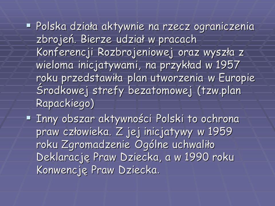 Polska działa aktywnie na rzecz ograniczenia zbrojeń. Bierze udział w pracach Konferencji Rozbrojeniowej oraz wyszła z wieloma inicjatywami, na przykł