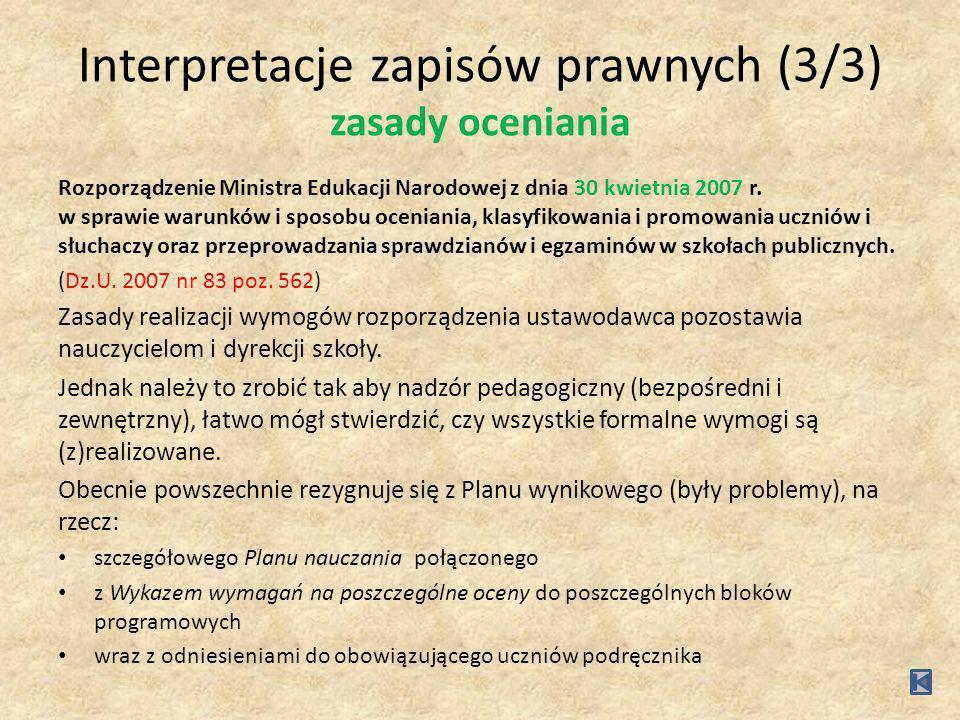 Interpretacje zapisów prawnych (3/3) zasady oceniania Rozporządzenie Ministra Edukacji Narodowej z dnia 30 kwietnia 2007 r. w sprawie warunków i sposo