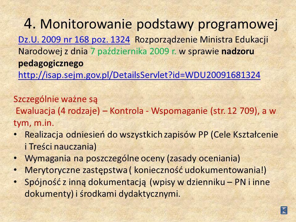 4. Monitorowanie podstawy programowej Dz.U. 2009 nr 168 poz. 1324Dz.U. 2009 nr 168 poz. 1324 Rozporządzenie Ministra Edukacji Narodowej z dnia 7 paźdz