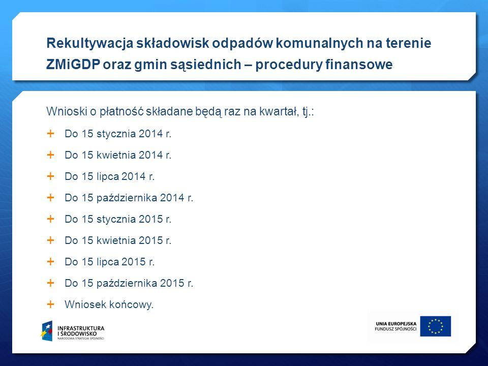 Wnioski o płatność składane będą raz na kwartał, tj.: Do 15 stycznia 2014 r. Do 15 kwietnia 2014 r. Do 15 lipca 2014 r. Do 15 października 2014 r. Do