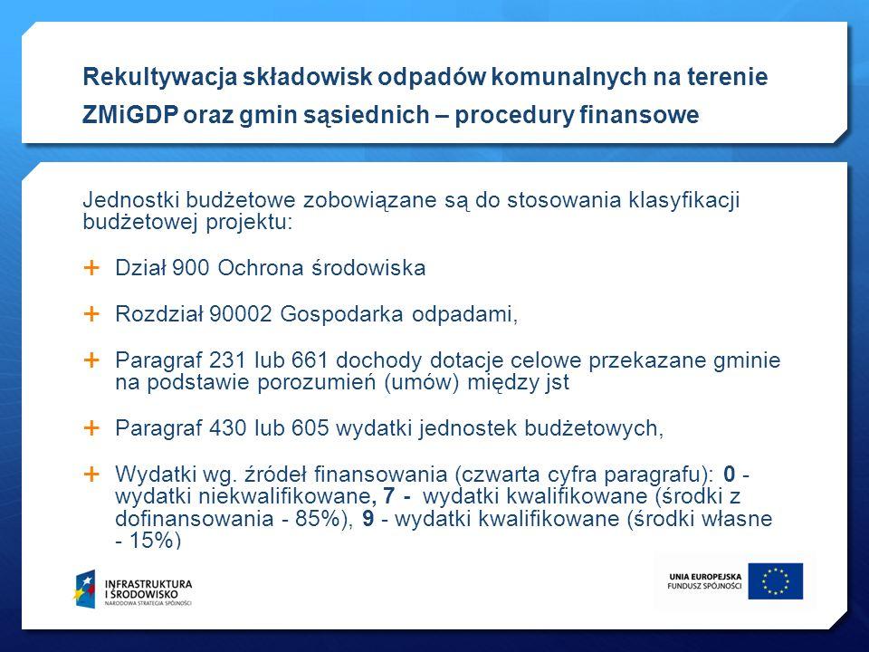Jednostki budżetowe zobowiązane są do stosowania klasyfikacji budżetowej projektu: Dział 900 Ochrona środowiska Rozdział 90002 Gospodarka odpadami, Pa