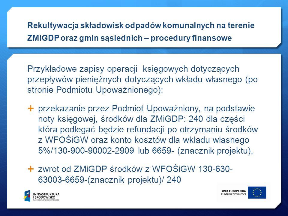 Przykładowe zapisy operacji księgowych dotyczących przepływów pieniężnych dotyczących wkładu własnego (po stronie Podmiotu Upoważnionego): przekazanie