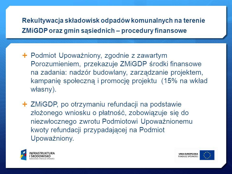 Podmiot Upoważniony, zgodnie z zawartym Porozumieniem, przekazuje ZMiGDP środki finansowe na zadania: nadzór budowlany, zarządzanie projektem, kampani