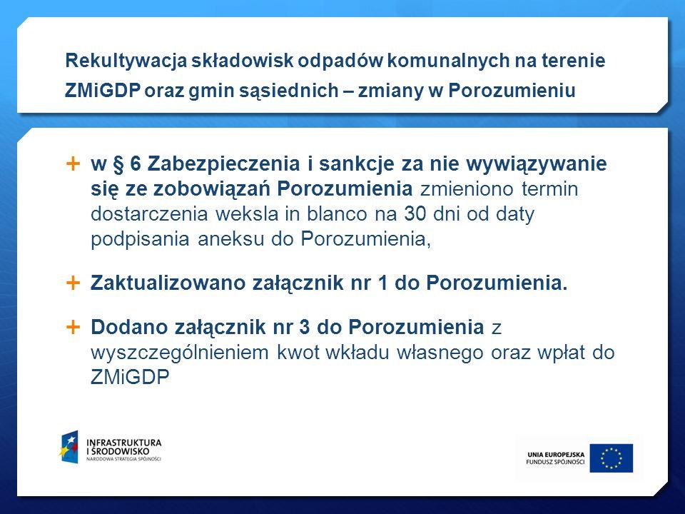 w § 6 Zabezpieczenia i sankcje za nie wywiązywanie się ze zobowiązań Porozumienia zmieniono termin dostarczenia weksla in blanco na 30 dni od daty pod