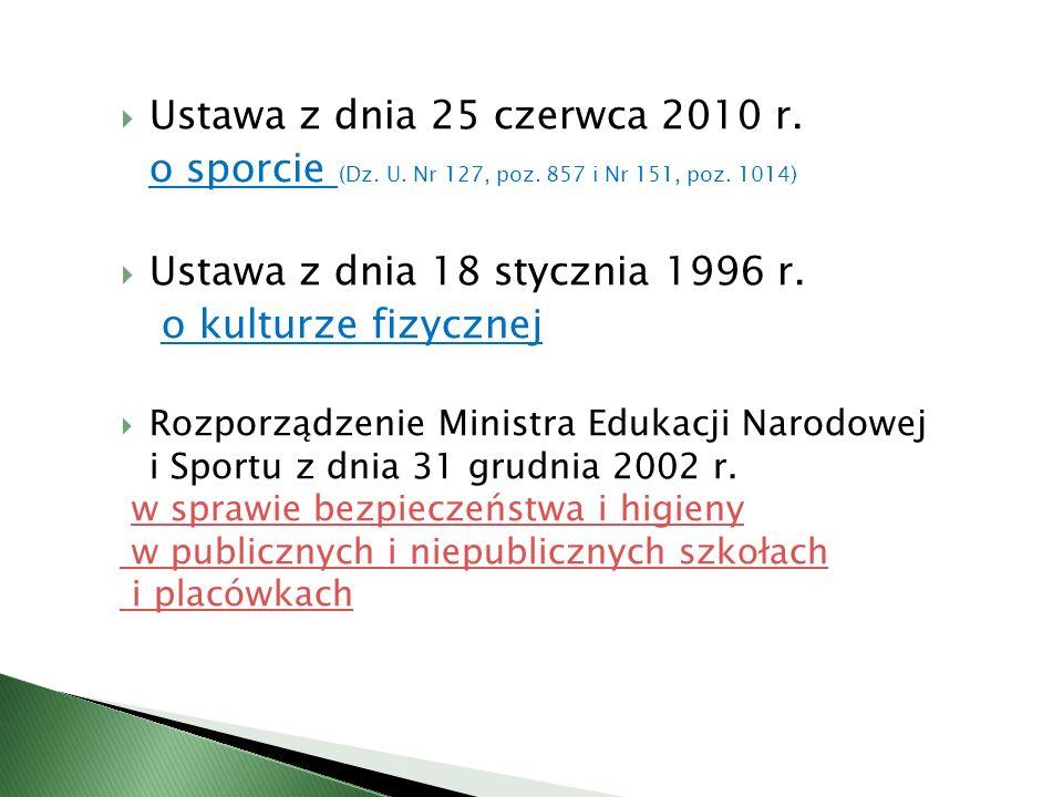Ustawa z dnia 25 czerwca 2010 r. o sporcie (Dz. U. Nr 127, poz. 857 i Nr 151, poz. 1014) Ustawa z dnia 18 stycznia 1996 r. o kulturze fizycznej Rozpor