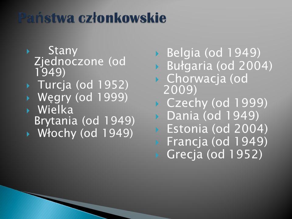 Stany Zjednoczone (od 1949) Turcja (od 1952) Węgry (od 1999) Wielka Brytania (od 1949) Włochy (od 1949) Belgia (od 1949) Bułgaria (od 2004) Chorwacja