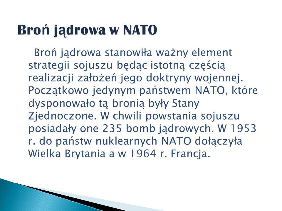 Broń jądrowa stanowiła ważny element strategii sojuszu będąc istotną częścią realizacji założeń jego doktryny wojennej. Początkowo jedynym państwem NA