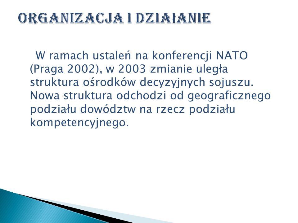W ramach ustaleń na konferencji NATO (Praga 2002), w 2003 zmianie uległa struktura ośrodków decyzyjnych sojuszu. Nowa struktura odchodzi od geograficz