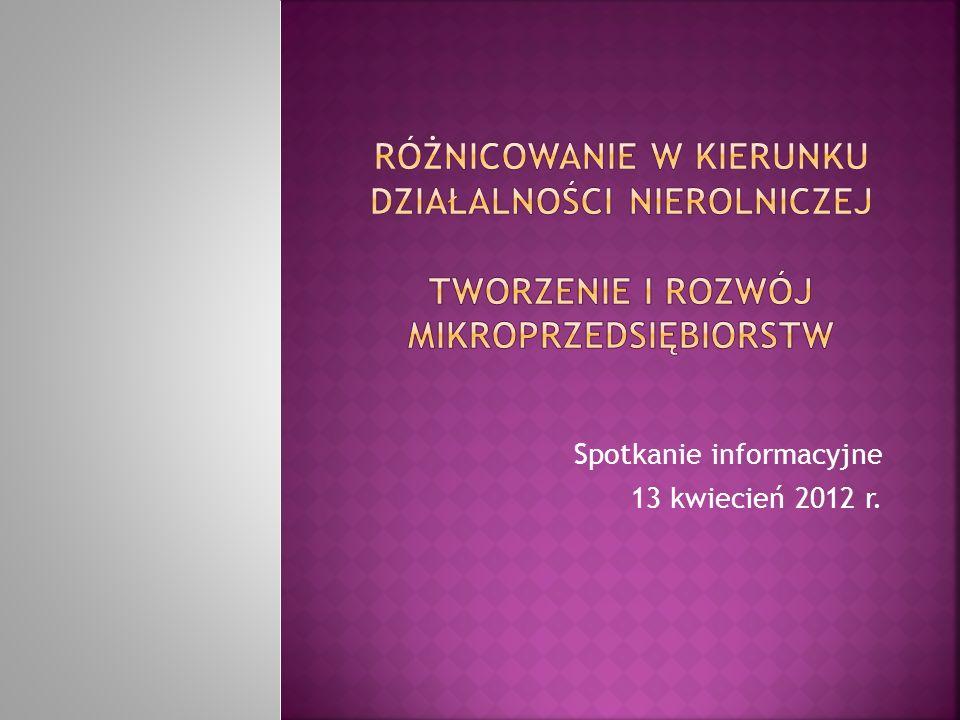 Spotkanie informacyjne 13 kwiecień 2012 r.