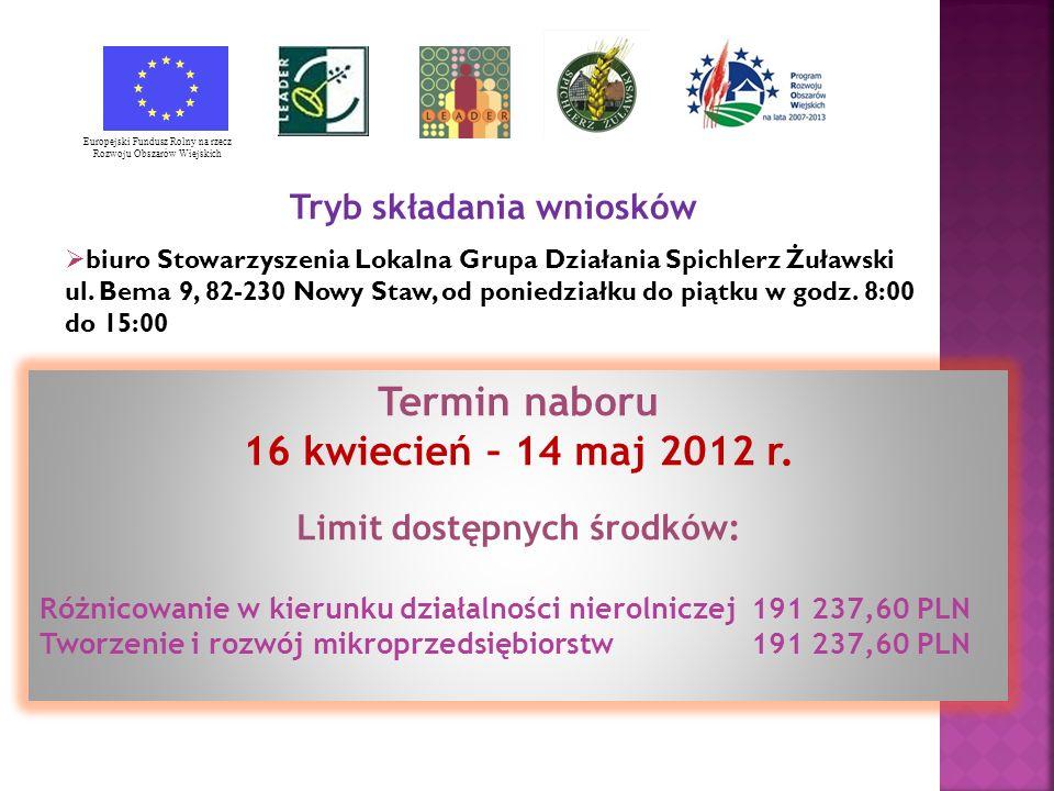 Termin naboru 16 kwiecień – 14 maj 2012 r.