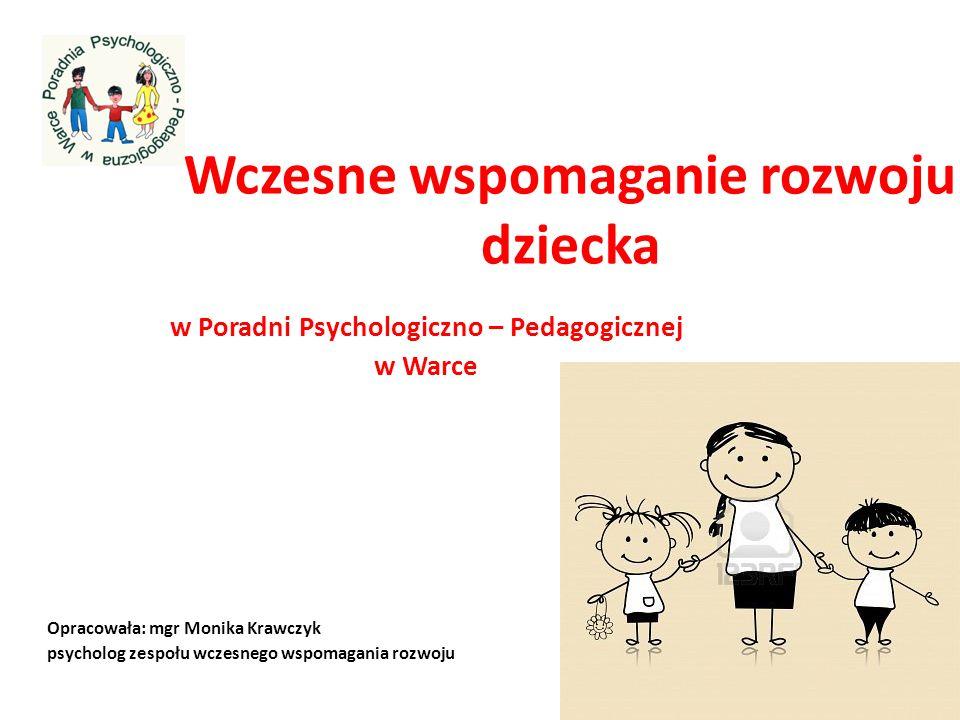 Wczesne wspomaganie rozwoju dziecka w Poradni Psychologiczno – Pedagogicznej w Warce Opracowała: mgr Monika Krawczyk psycholog zespołu wczesnego wspom