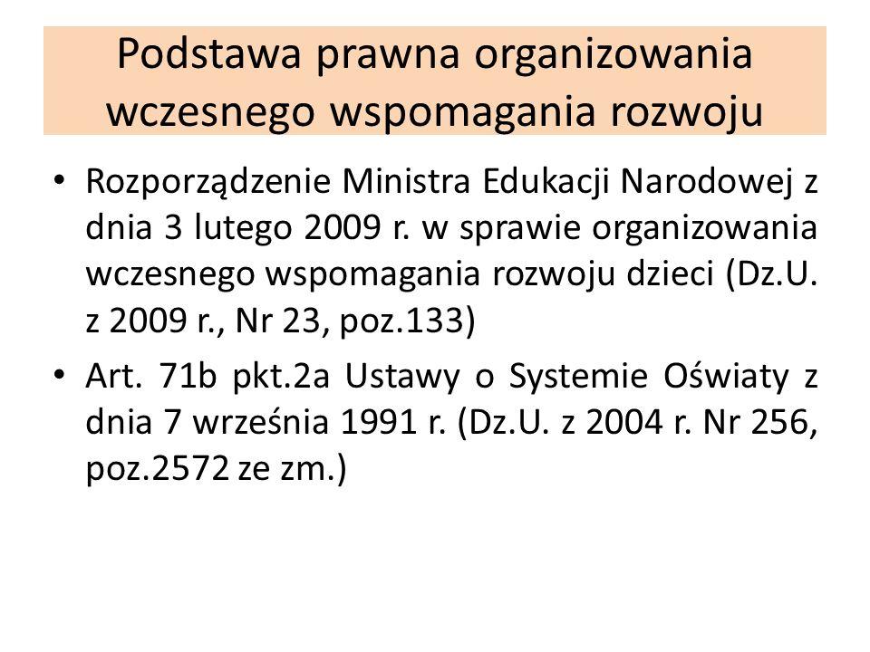 Podstawa prawna organizowania wczesnego wspomagania rozwoju Rozporządzenie Ministra Edukacji Narodowej z dnia 3 lutego 2009 r. w sprawie organizowania