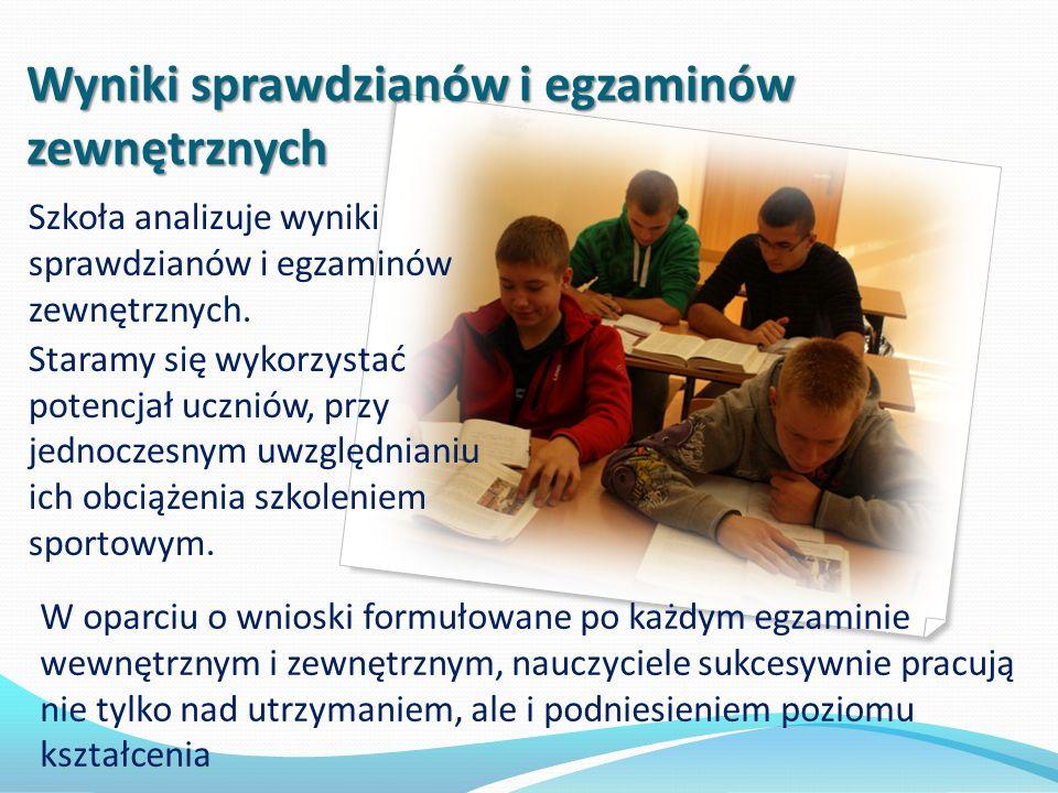 Wyniki sprawdzianów i egzaminów zewnętrznych Szkoła analizuje wyniki sprawdzianów i egzaminów zewnętrznych. Staramy się wykorzystać potencjał uczniów,