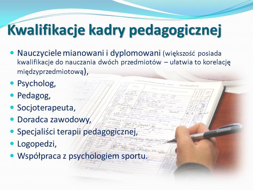 Kwalifikacje kadry pedagogicznej Nauczyciele mianowani i dyplomowani (większość posiada kwalifikacje do nauczania dwóch przedmiotów – ułatwia to korelację międzyprzedmiotową ), Psycholog, Pedagog, Socjoterapeuta, Doradca zawodowy, Specjaliści terapii pedagogicznej, Logopedzi, Współpraca z psychologiem sportu.