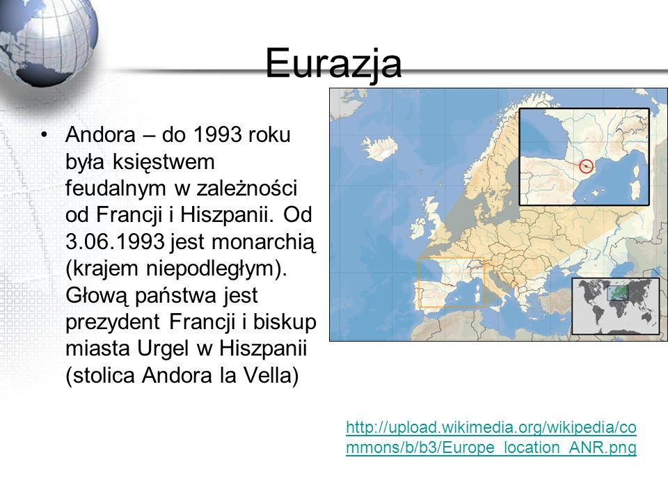 Eurazja Andora – do 1993 roku była księstwem feudalnym w zależności od Francji i Hiszpanii. Od 3.06.1993 jest monarchią (krajem niepodległym). Głową p