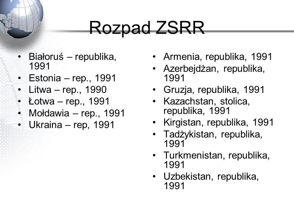 Rozpad ZSRR Białoruś – republika, 1991 Estonia – rep., 1991 Litwa – rep., 1990 Łotwa – rep., 1991 Mołdawia – rep., 1991 Ukraina – rep, 1991 Armenia, r