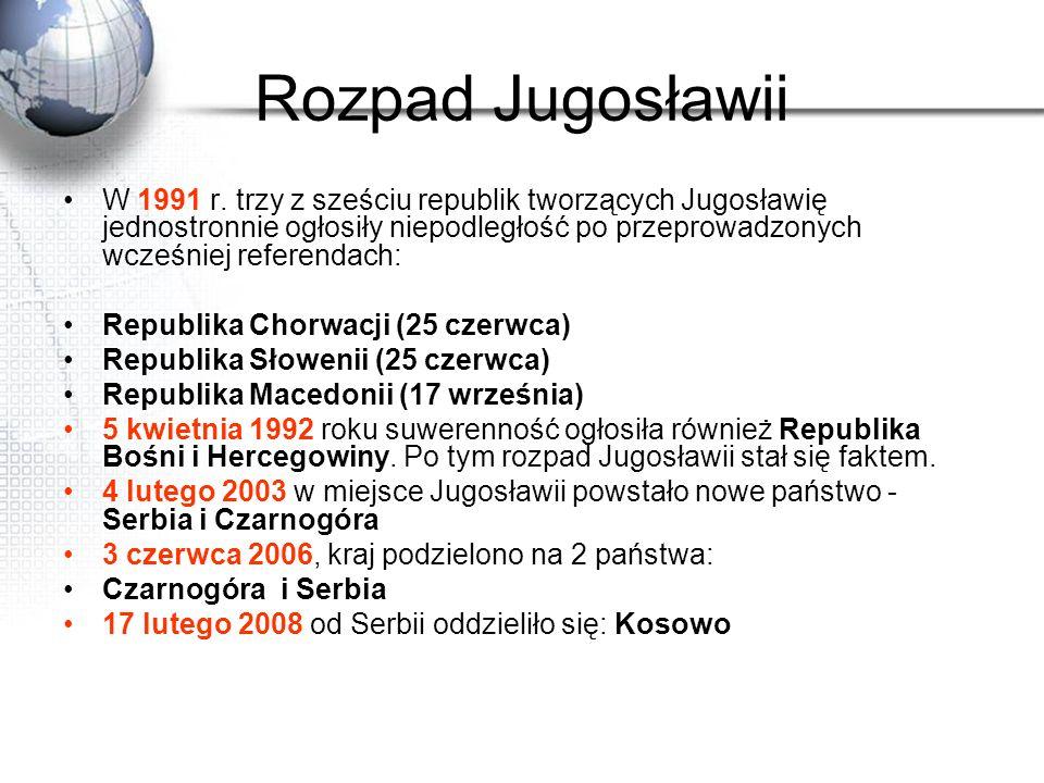 Rozpad Jugosławii W 1991 r. trzy z sześciu republik tworzących Jugosławię jednostronnie ogłosiły niepodległość po przeprowadzonych wcześniej referenda