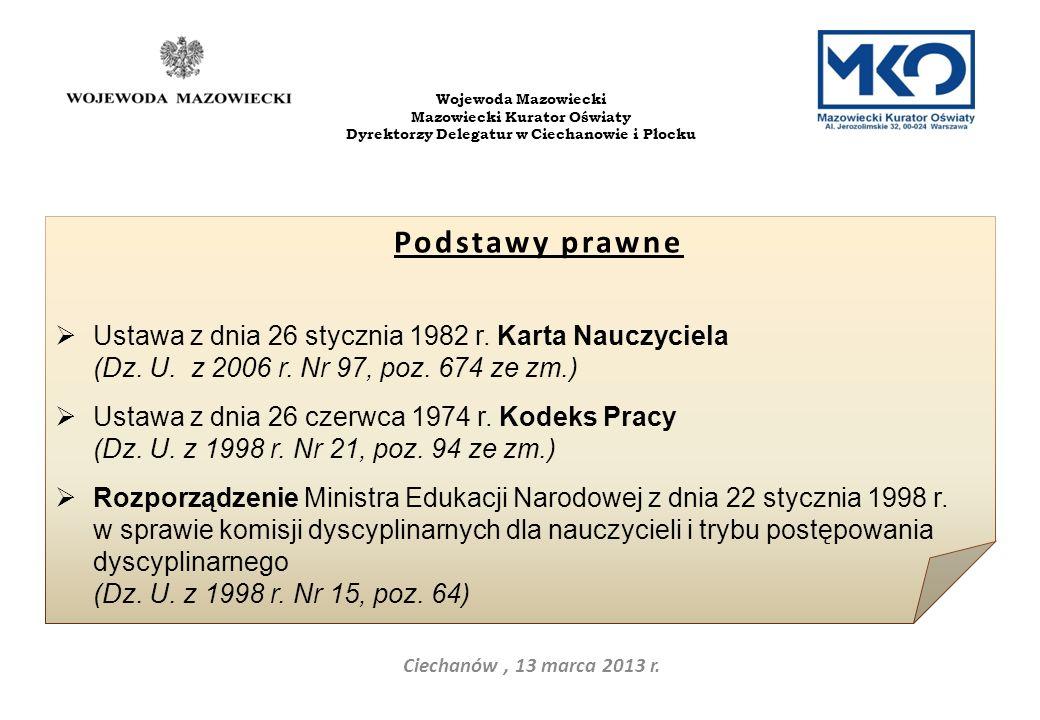 Ciechanów, 13 marca 2013 r. Wojewoda Mazowiecki Mazowiecki Kurator Oświaty Dyrektorzy Delegatur w Ciechanowie i Płocku Podstawy prawne Ustawa z dnia 2