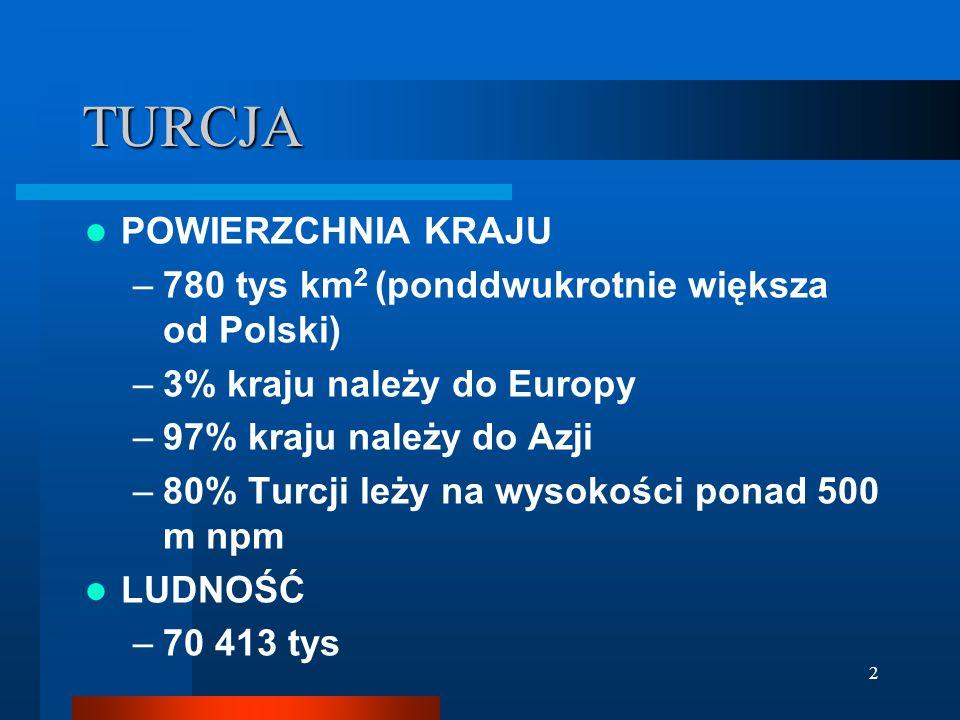 2 TURCJA POWIERZCHNIA KRAJU –780 tys km 2 (ponddwukrotnie większa od Polski) –3% kraju należy do Europy –97% kraju należy do Azji –80% Turcji leży na