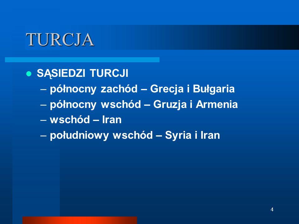 4 TURCJA SĄSIEDZI TURCJI –północny zachód – Grecja i Bułgaria –północny wschód – Gruzja i Armenia –wschód – Iran –południowy wschód – Syria i Iran