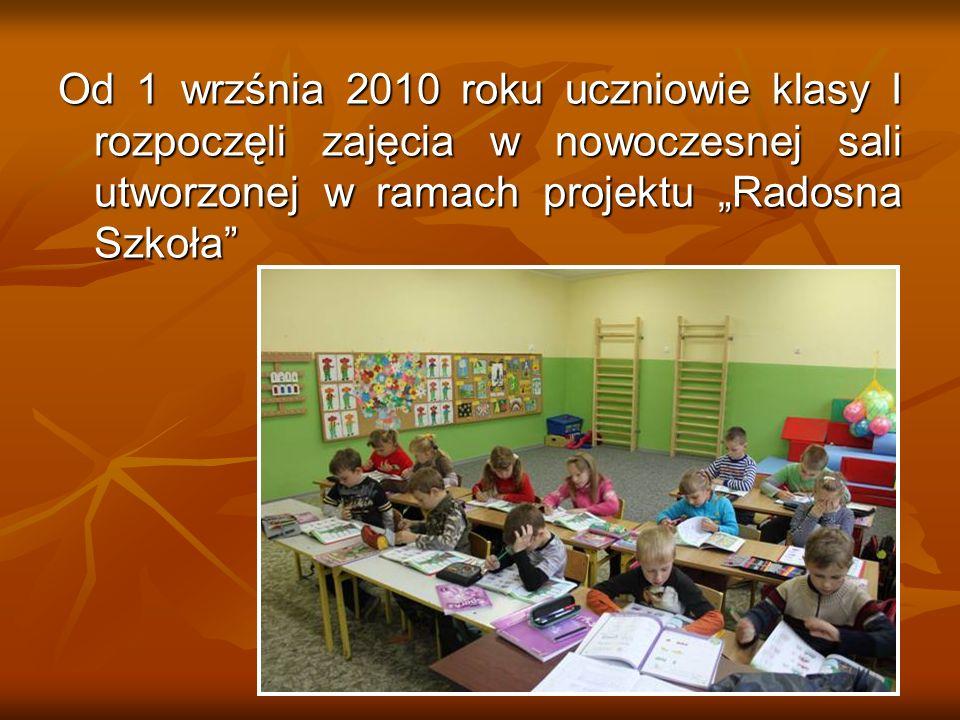 Od 1 wrzśnia 2010 roku uczniowie klasy I rozpoczęli zajęcia w nowoczesnej sali utworzonej w ramach projektu Radosna Szkoła