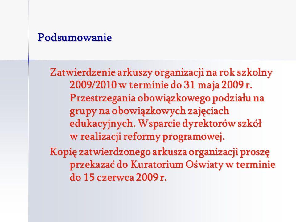 Podsumowanie Zatwierdzenie arkuszy organizacji na rok szkolny 2009/2010 w terminie do 31 maja 2009 r.