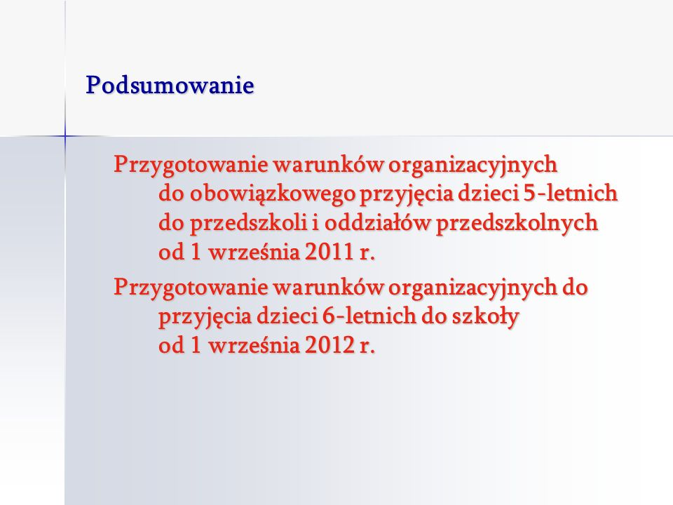 Podsumowanie Przygotowanie warunków organizacyjnych do obowiązkowego przyjęcia dzieci 5-letnich do przedszkoli i oddziałów przedszkolnych od 1 września 2011 r.