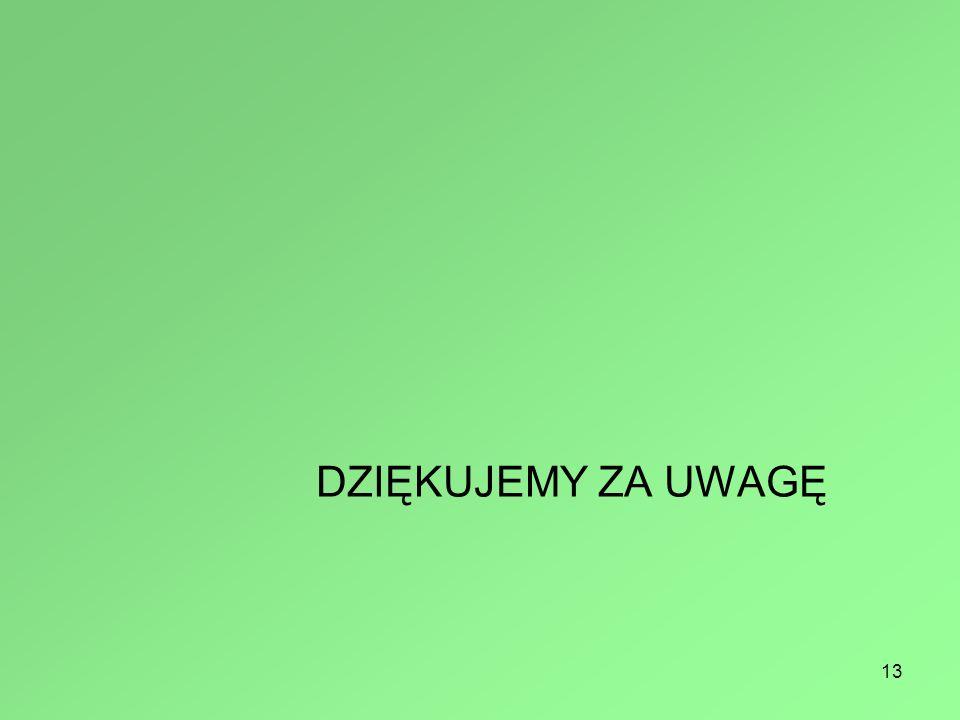 13 DZIĘKUJEMY ZA UWAGĘ