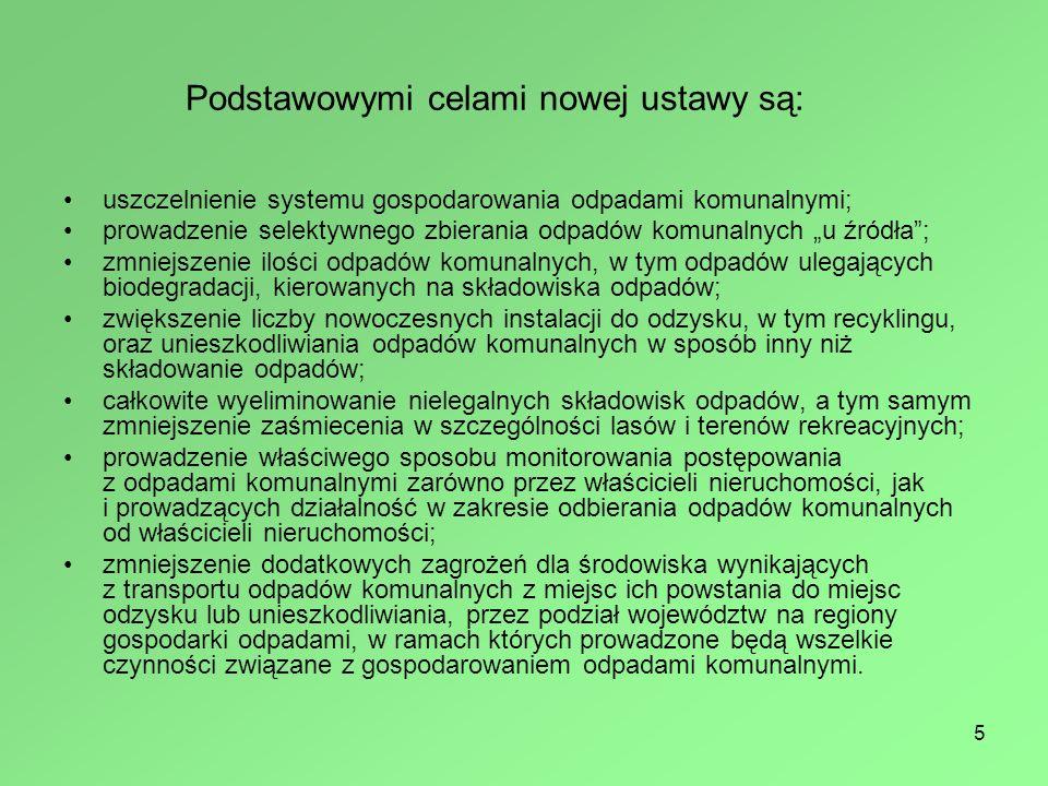 6 Nowa USTAWA zmieniająca system gospodarowania odpadami komunalnymi weszła w życie z dniem 1 stycznia 2012 r.