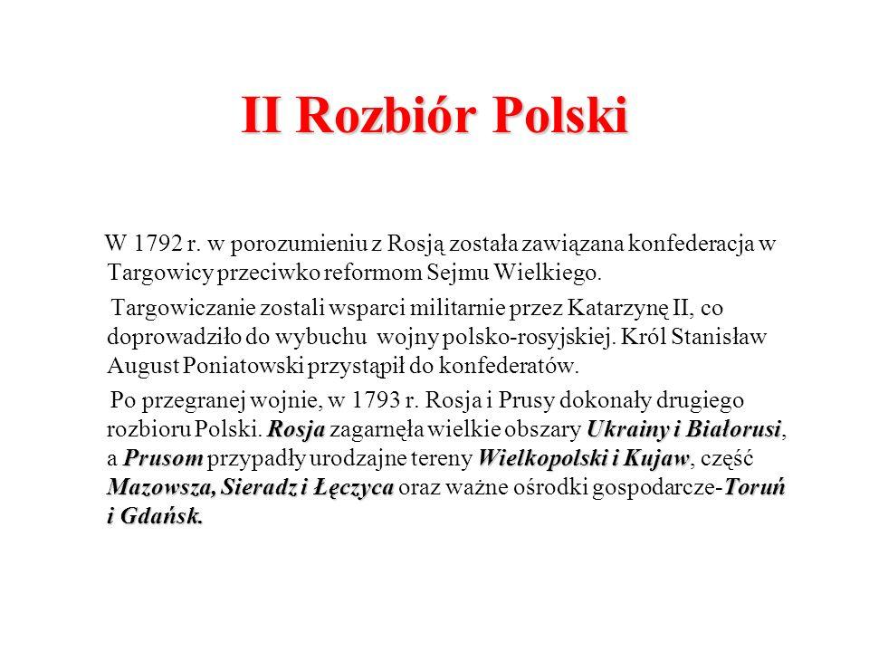 II Rozbiór Polski W 1792 r. w porozumieniu z Rosją została zawiązana konfederacja w Targowicy przeciwko reformom Sejmu Wielkiego. Targowiczanie zostal