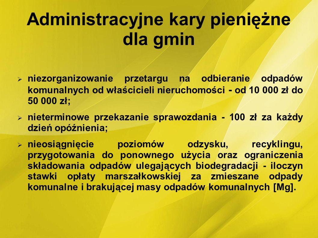 Administracyjne kary pieniężne dla gmin niezorganizowanie przetargu na odbieranie odpadów komunalnych od właścicieli nieruchomości - od 10 000 zł do 5